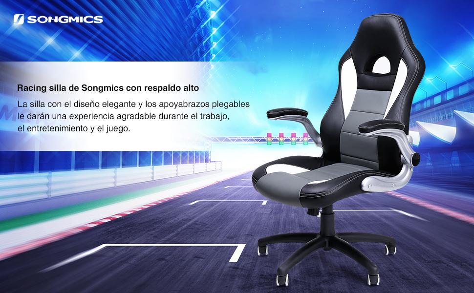 SONGMICS Racing Silla ergonómica para oficina estudio PU ...