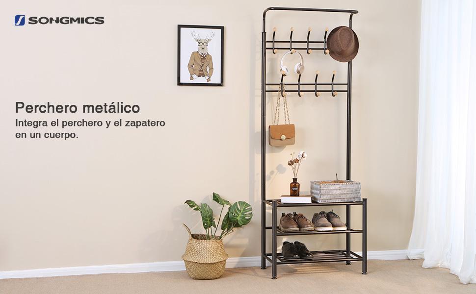 SONGMICS Perchero con 3 Capas para Zapatos, con 18 Ganchos, Metal, 68,8 x 35,2 x 187 cm, Negro HSR04B
