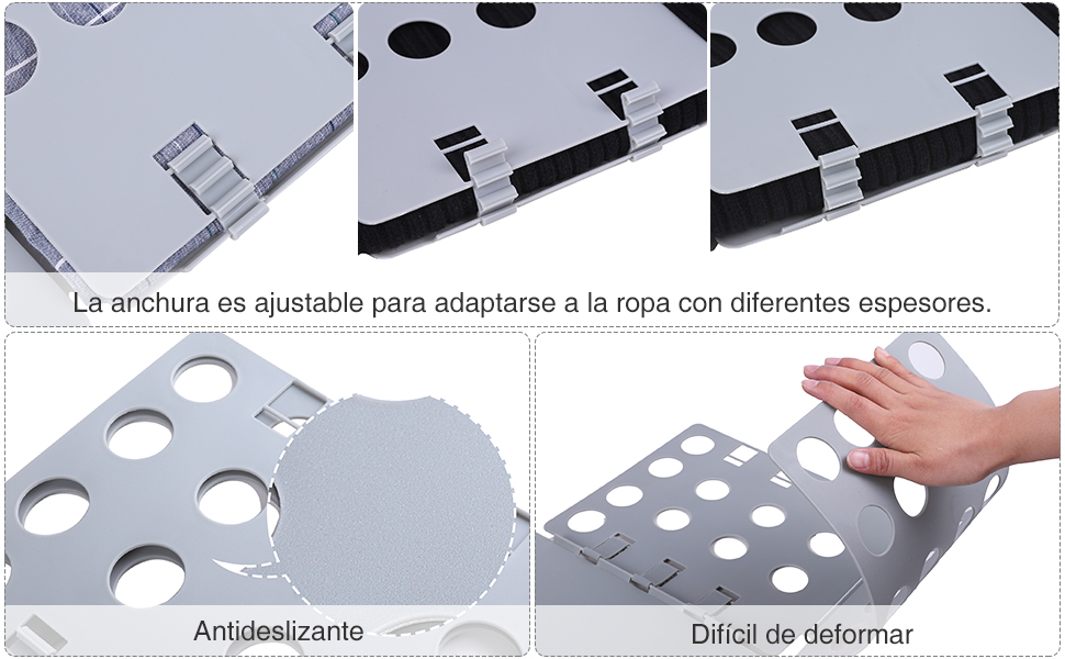 El doblador de ropa está hecho de plástico de PP, es seguro y se puede usar repetidamente. Trae las instrucciones para facilitar el uso.