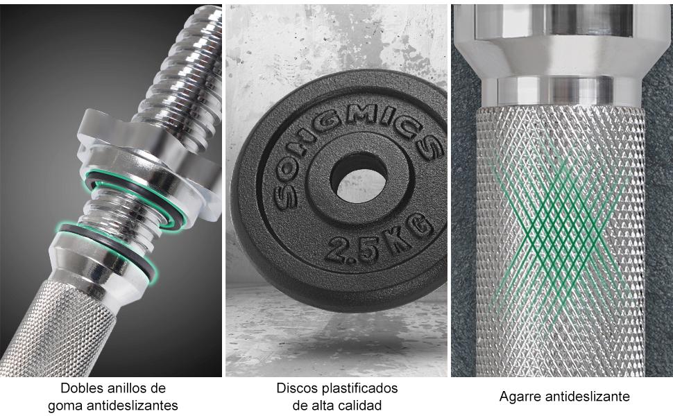 Dobles anillos de goma antideslizantes - En los dos lados de cierres de rosca y de agarre cuentan con anillos de goma para proteger discos y aumentar la ...
