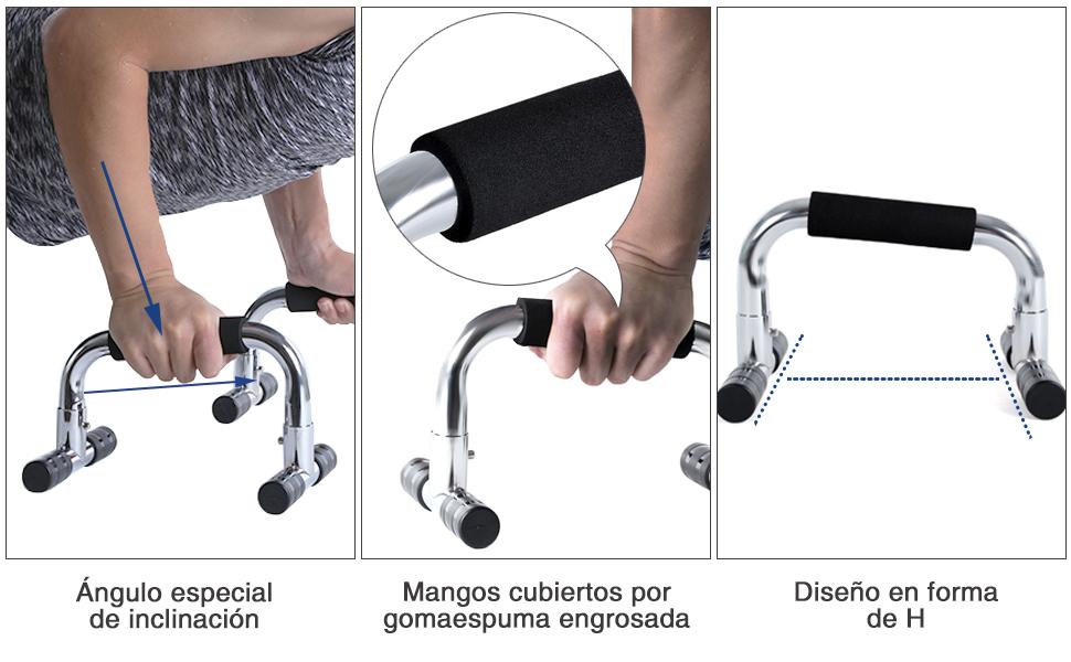 SONGMICS Manijas Push up Pro, Soportes para Entrenamiento Flexiones y Otros Ejercicios, Forma de H, Negro SPU25H