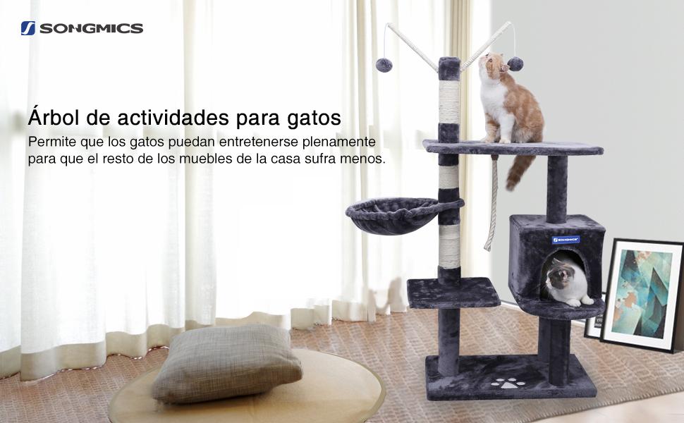 FEANDREA Árbol para Gatos Rascador con nidos Plataformas Bolas de Juego Gran Base 134 cm PCT35G: Amazon.es: Productos para mascotas