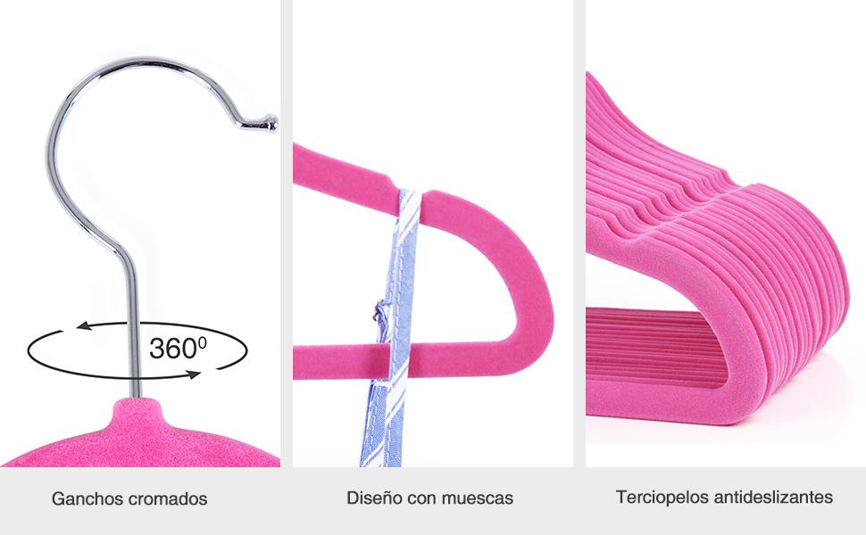 SONGMICS 20 Unidades de Perchas Infantiles, para Ropa de Bebé, Cubierta de Aterciopeladas Súper Finas, Antideslizantes, Color Rosa CRF20P