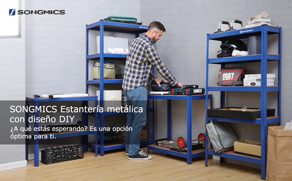 SONGMICS Estantería Metálica para Almacenar de pie 5 Estantes 875 ...