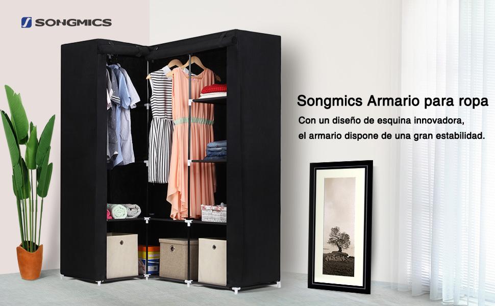 SONGMICS Armario Guardarropa de Tela, Ropero Esquinero Plegable, 129 x 87 x 169 cm, Color Negro LSF42H
