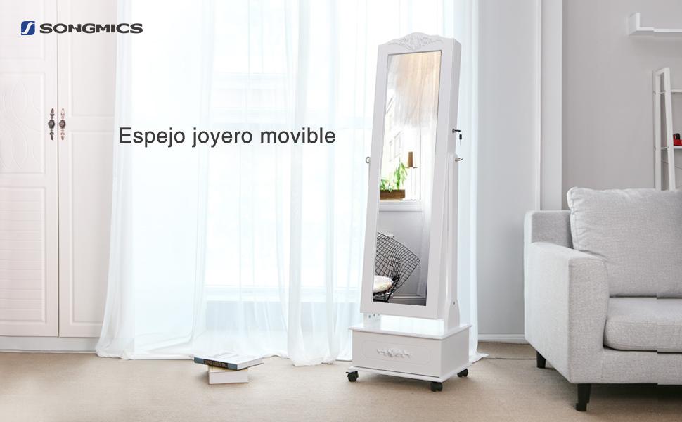 SONGMICS Espejo Joyero, Armario con LED, Organizador de Joyerías, Blanco JBC61W: Amazon.es: Juguetes y juegos