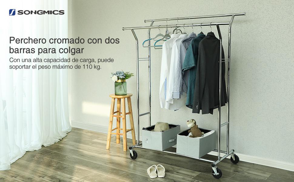 SONGMICS Perchero Colgador para Ropa Bufandas con 4 Ruedas Altura y Longitud Regulables, Cromado HSR12S
