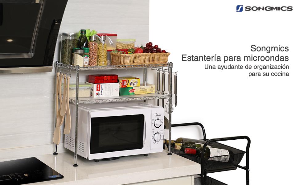 Songmics estanter a de cocina estanter a cromada multifuncional organizador para cocina soporte - Estante microondas ...