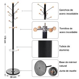 SONGMICS Perchero de pie Base de Mármol Aluminio con 12 Ganchos y un paragüero 178 cm Negro RCR30B
