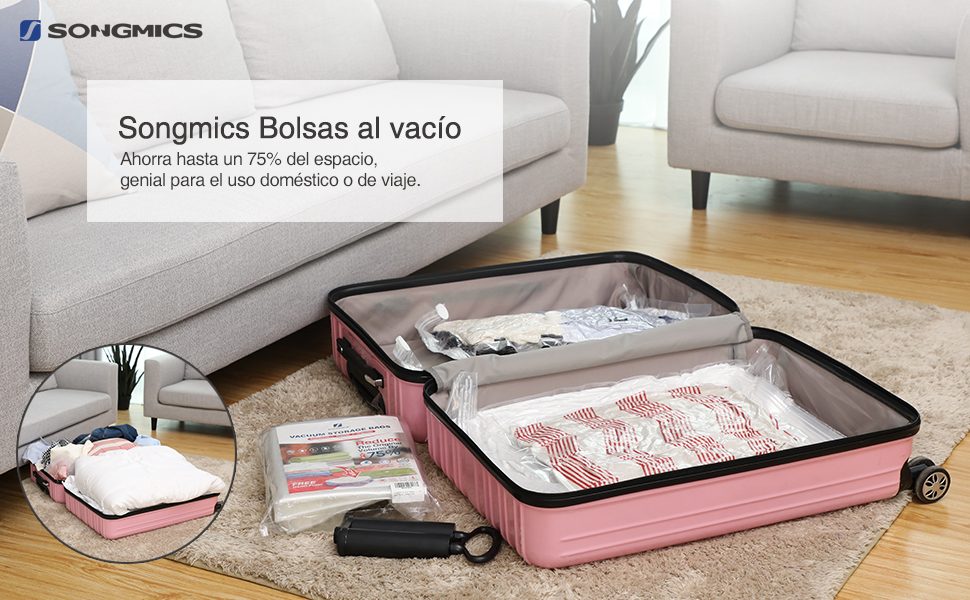 SONGMICS Bolsas al Vacío Buena Hermeticidad Doble Cremallera Hermética Bomba Gratuita, 5 * 60 x 80 cm;5 * 80 x 100 cm, RVM103