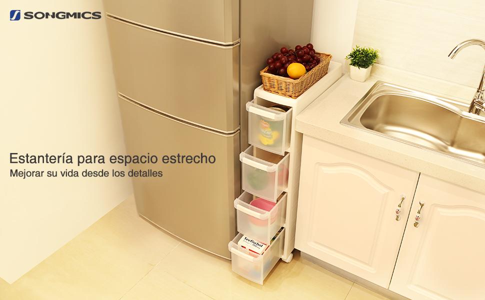 Songmics carrito con ruedas para ba o o cocina estanter a for Carrito de cocina con ruedas