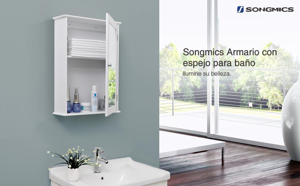 Songmics armario con espejo armario de ba o armario - Armarios bano amazon ...