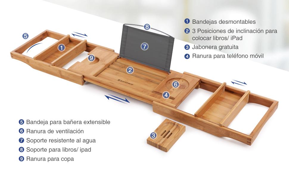 Especificaciones: - Color: Color madera - Material: Bambú Natural - Capacidad de carga: 3 kg - Dimensiones del producto: (75-109) x 23 x 4,5 cm (Largo x ...