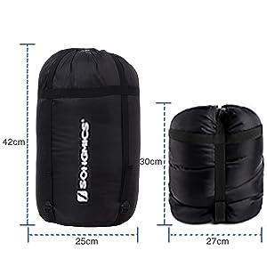 Un viaje relajado sin estrés: La bolsa de compresión está fabricada en tejido Oxford, que es robusta y durable; se puede comprimir el saco de dormir muy ...