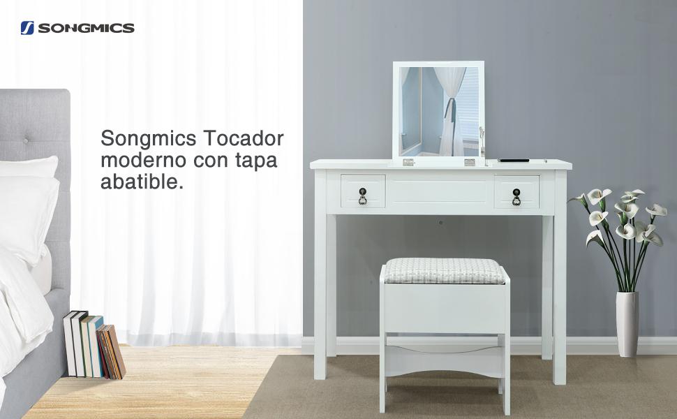 Songmics tocador con espejo moderno con tapa abatible con taburete 3 cajas de almacenaje blanco - Espejo con almacenaje ...