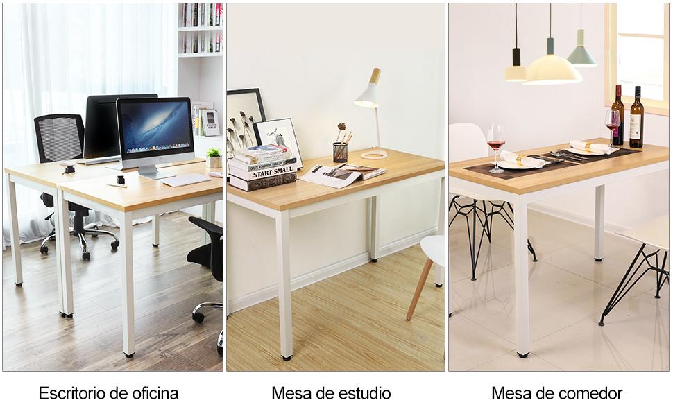 VASAGLE Mesa de Ordenador Mesa de Estudio Mesa de Comedor 120 x 60 ...