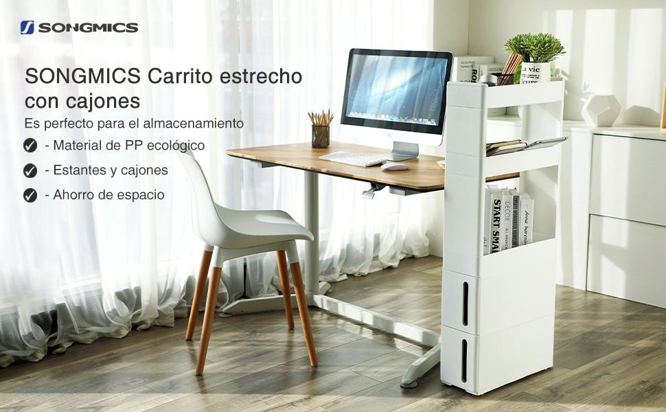 SONGMICS Carrito de cocina con ruedas Estantería multiusa con 3 ...