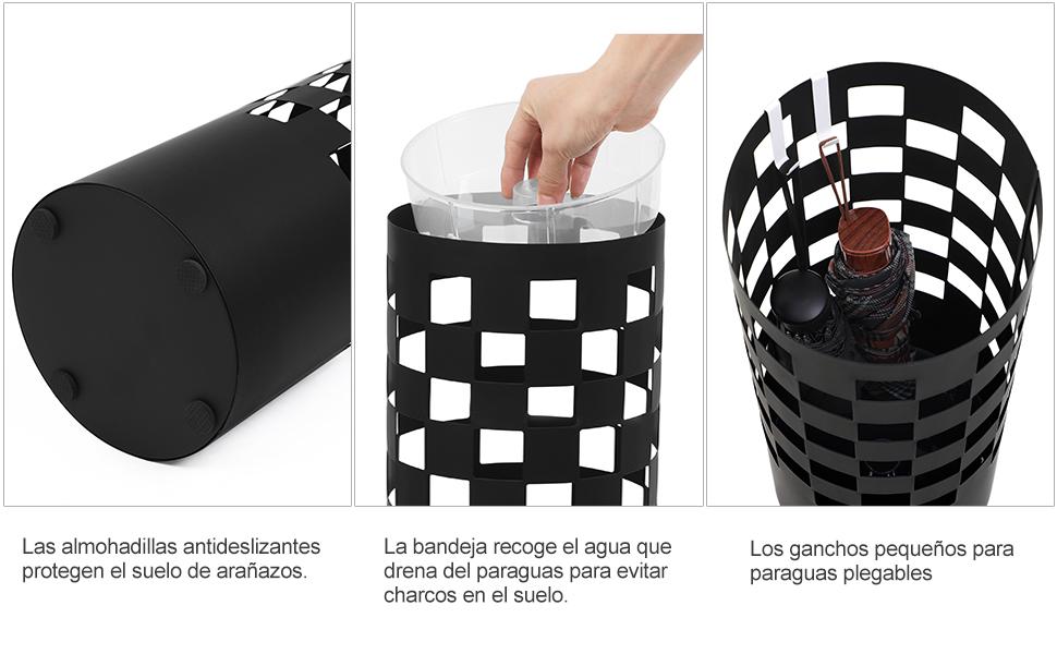 ¿Sigue buscando un contenedor para organizar sus paraguas desordenados? ¡El paragüero SONGMICS es su elección ideal! El patrón de cubo artístico lo hace ...