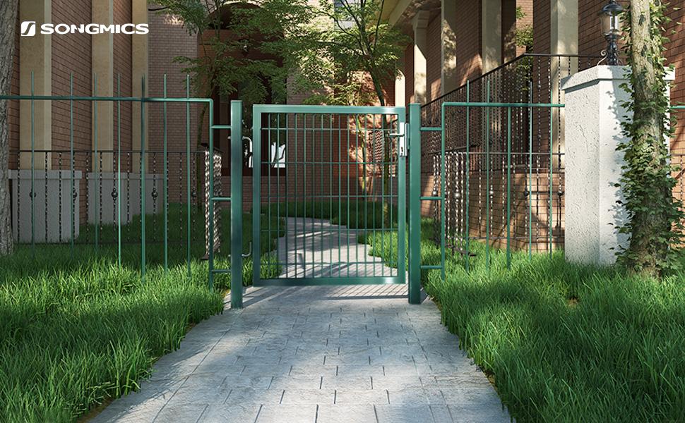 SONGMICS Puerta de Malla de Jardín, Puerta de Verja Acero Galvanizado Sólido y Estable, Cerradura y Llaves, de 106 x 150 cm, Malla de 50 x 200 mm, Verde GGD250L: Amazon.es: Bricolaje y herramientas