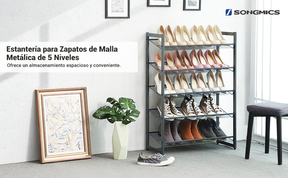 SONGMICS Zapatero, Estante Apilable de 5 Niveles, Malla Metálica, Organizador de Calzado Plano o en Ángulo para 15 a 20 Pares de Zapatos, Botas ...