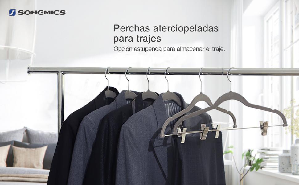 SONGMICS Set de 30 Perchas para Pantalones para Adultos Ideal para Trajes Abrigos Gancho Giratorio a 360/º Faldas aterciopeladas con Pinzas 42,5 x 0,5 x 23,5 cm Pantalones Gris CRF12V-30