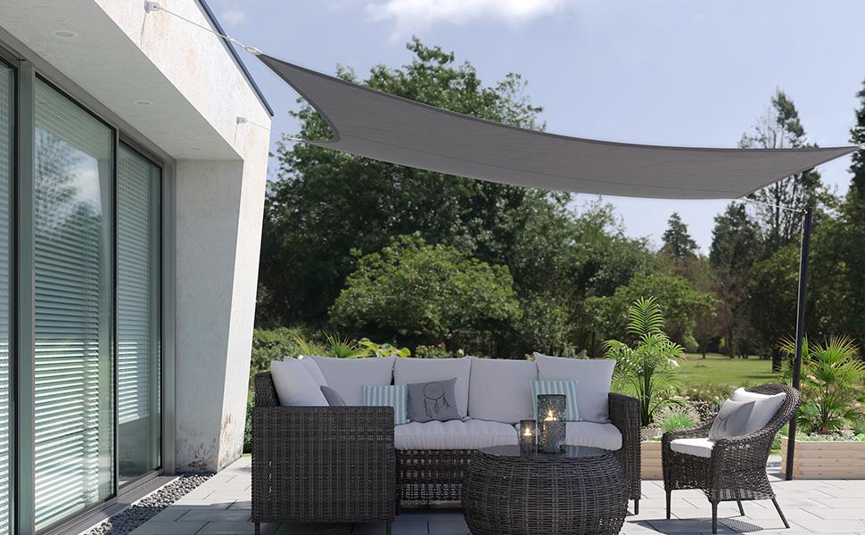 SONGMICS 3 x 4 m Vela de Sombra, para Jardín, Resistente a la Intemperie Protección Solar, PES Poliéster, 94% BloqueUV, Gris Antracita GSH34GYV1: Amazon.es: Jardín