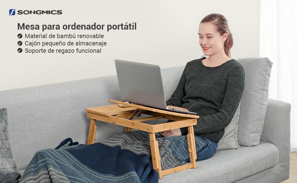 SONGMICS Mesa de Bambú para Ordenador Portátil, Tableta Inclinable ...