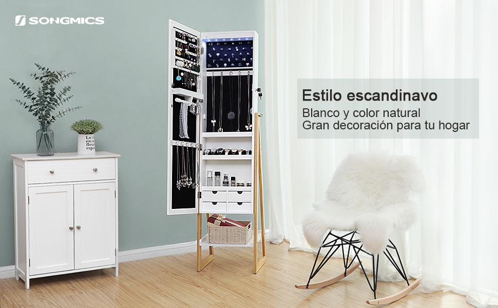 SONGMICS Armario para Joyas, Espejo Joyero con Cerradura y Luces LED, Organizador Independiente, Espejo de Largo Completo, Simple escandinavo, Patas ...