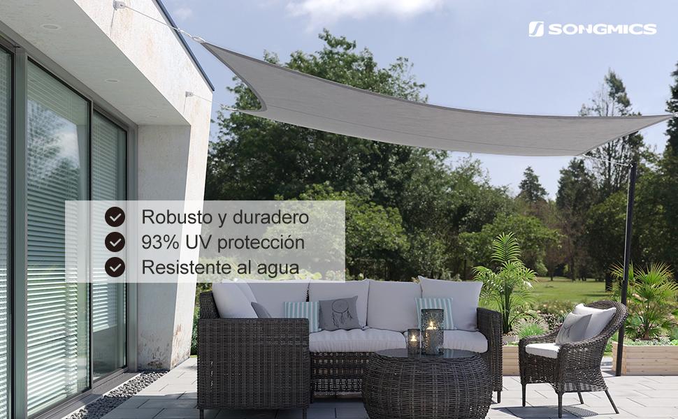 SONGMICS 3 x 4 m Vela Parasol de, Resistente al Agua Mínimo de 1000 mm, Protección UV93%, Poliéster, Resistente a Desgarros Intemperie, para Patio del ...