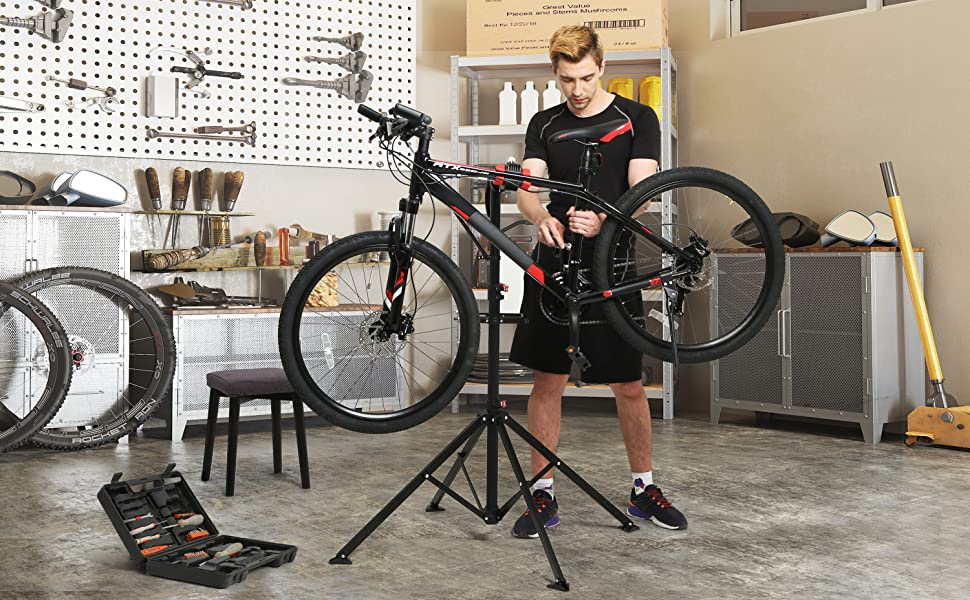 SONGMICS Soporte de Reparación de Bicicletas con Bandeja Magnética ...