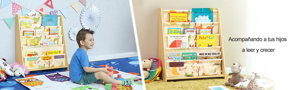 SONGMICS Estantería Infantil, Estantería para niños, con 4 Estantes para Libros y Juguetes, Ideal para Habitaciones Infantiles, guardería, Madera de ...