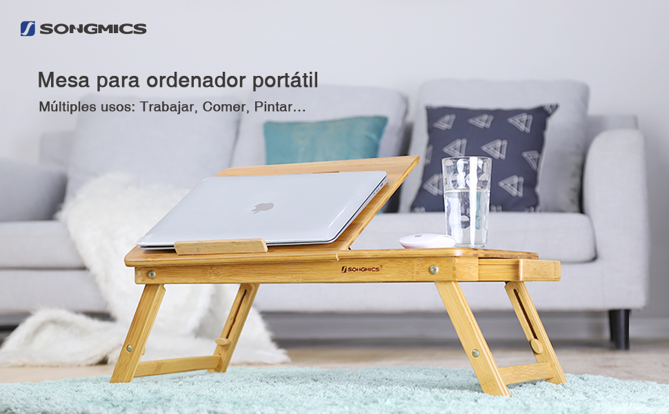 SONGMICS Laptop Desk, Adjustable Bamboo Bed Table and Breakfast ...