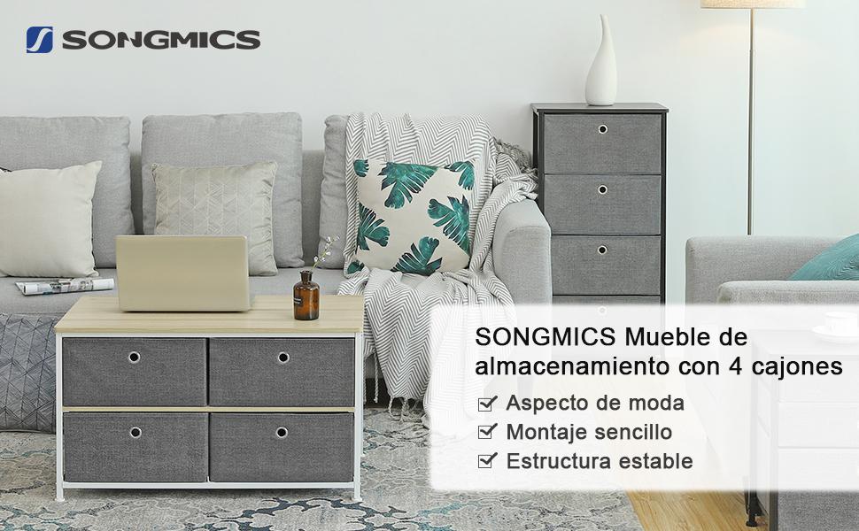 SONGMICS Mueble de almacenamiento con 4 cajones