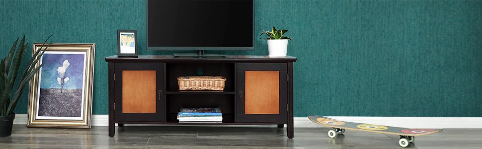 VASAGLE Mesa para TV, Mueble para TV con Estantes Abiertos, para ...
