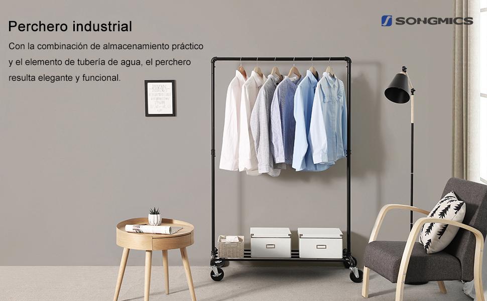 SONGMICS Perchero Burro Industrial con Ruedas, Capacidad de Carga de 90 kg, Perchero Metálico con Barra para Colgar, Estante de Almacenamiento, Negro ...