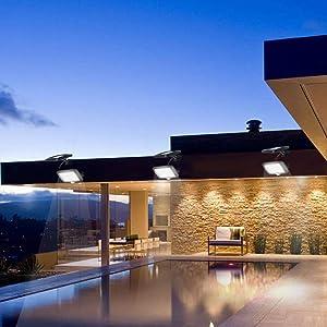 YAYZA! 2-Paquete Panel solar alimentado Luz de pared inalámbrica 56 LED 12W Dividir Separable Impermeable Seguridad al aire libre Sensor de movimiento PIR 1000 lm Iluminación blanco fresco para jardín: Amazon.es: Iluminación