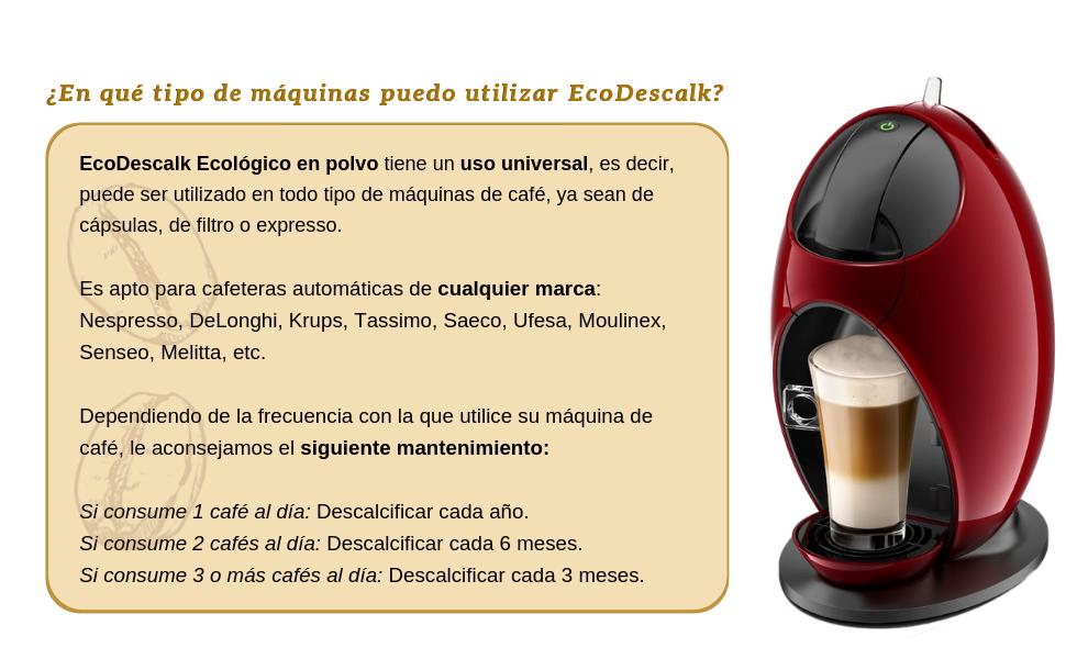 EcoDescalk Ecológico en Polvo, 3x4 Sobres. Descalcificador 100% Natural. Limpiador para Cafeteras. Todas Las Marcas: Bosch, Nespresso, DeLonghi, Tassimo. 12 ...