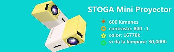 Mini Proyector WiF, STOGA YG300 Portátil Proyector LED Cine en ...
