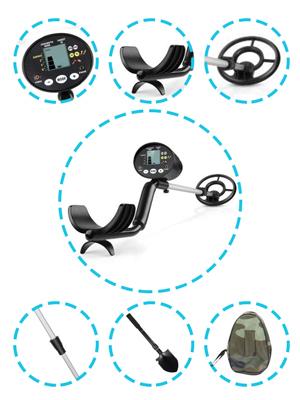 INTEY Detector de Metales LCD Pantalla Detector de Metal Alta Sensibilidad/Bobina Impermeabl/Sugerencias de Profundidad/Varilla Ajustable/para ...