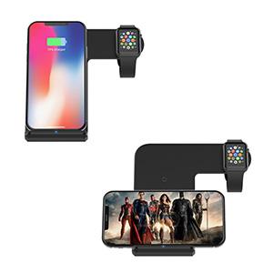 Sararoom Cargador Inalámbrico, 2 en 1 Qi Cargador Inalámbrico Rápido Funciona con Iwatch II III iPhone 6 / 6S / 8 iPhone X/XS, S6 / S6 Edge/Note 5 / ...