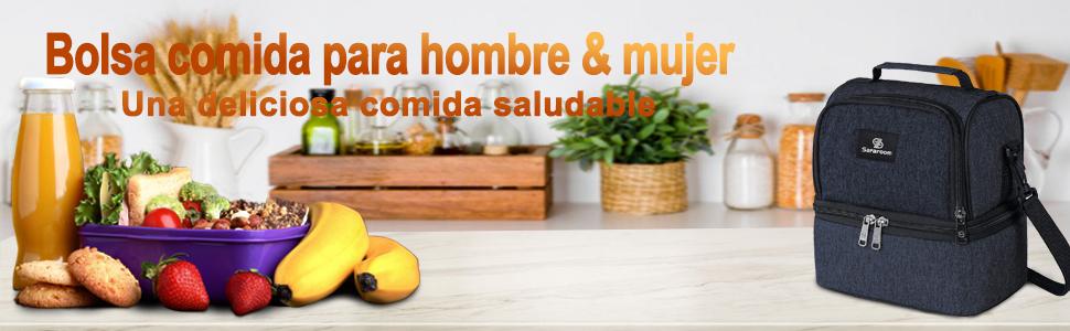 Sararoom Bolsa Termica Comida , Bolsa Porta Alimentos Impermeable ...