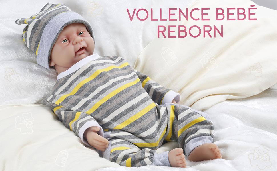 Vollence Muñeco bebé Reborn Realista de 46 cm. Libre de PVC. Muñeco bebé Realista con Cuerpo Completo Lleno de Silicona. Hecho a Mano. Muñeco de ...