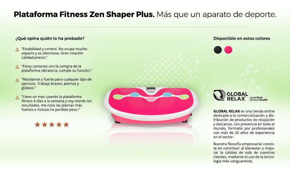 GLOBAL RELAX Zen Shaper Plus Plataforma vibratoria oscilante Fitness - Rosa (Modelo 2019) - 3 Modos Auto y 10 manuales - Música MP3-3 áreas ...