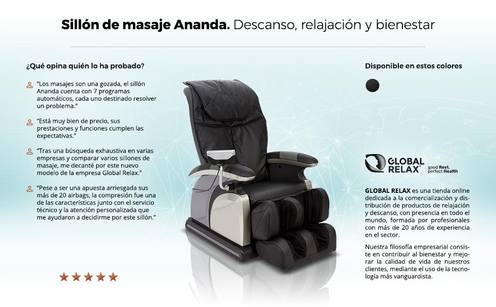 ANANDA® Sillón de Masaje - Negro (nuevo modelo 2019 ...