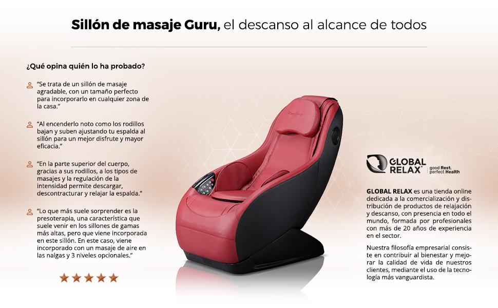 GURU® Sillón de masaje y relax - Rojo (nuevo modelo 2019 ...