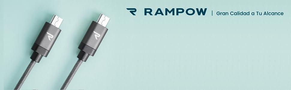 Rampow Cable Micro USB 2,4A Carga Rápida [2 Pack] - Garantía De por Vida - Nylón Trenzado Cable USB Compatible con Android, Samsung Galaxy, Kindle, ...