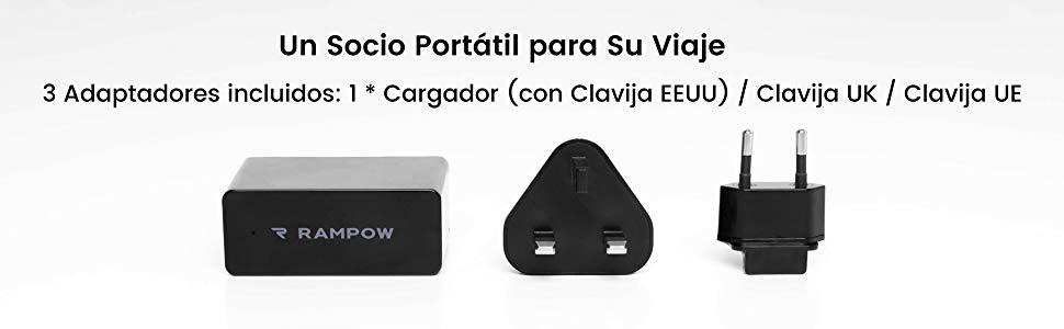 Cargador de Movil Rampow Cargador USB de Pared con 4 Puertos 6.8A/34W-GARANTÍA DE POR VIDA-EEUU/UE/UK Cargador Compatible para Teléfonos y ...