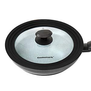 COOKSMARK® Faraday Juego de 3 Sartenes Inducción de 20 24 28cm Sartén Antiadherente Cocina con Tapa Universal de Cristal de Color Granito Apta para ...