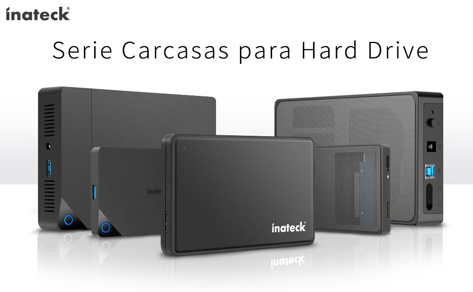 Inateck FE2013 - Carcasa para Disco Duro Externo (2 Pulgadas, USB 3.0, 7 mm/9,5 mm, Disco Duro SATA de 2,5 Pulgadas, Compatible con UASP, sin ...