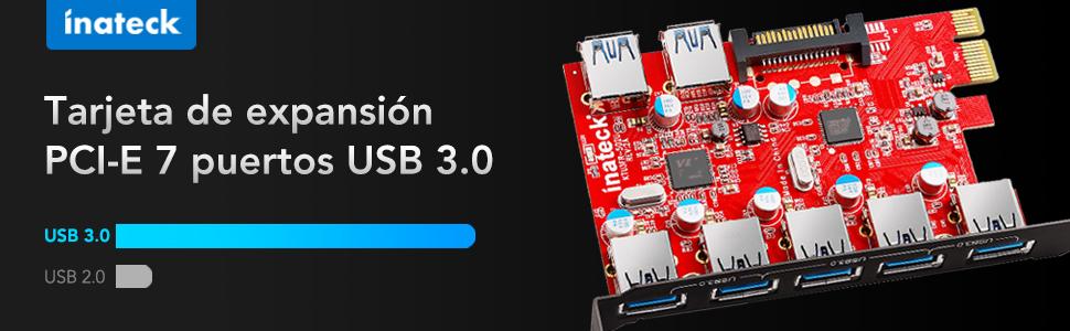 Inateck KTU3FR-5O2U - Tarjeta de expansión USB 3.0 (7 Puertos), Color Negro y Rojo